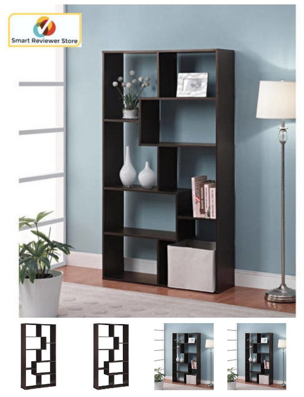 8 Shelf Tall Bookcase Cubby Large Open Bookshelf Modern Cube Display Brown Book Mainstays Traditional