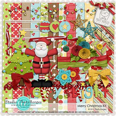 Merry Christmas full kit freebie from Thaty Borges