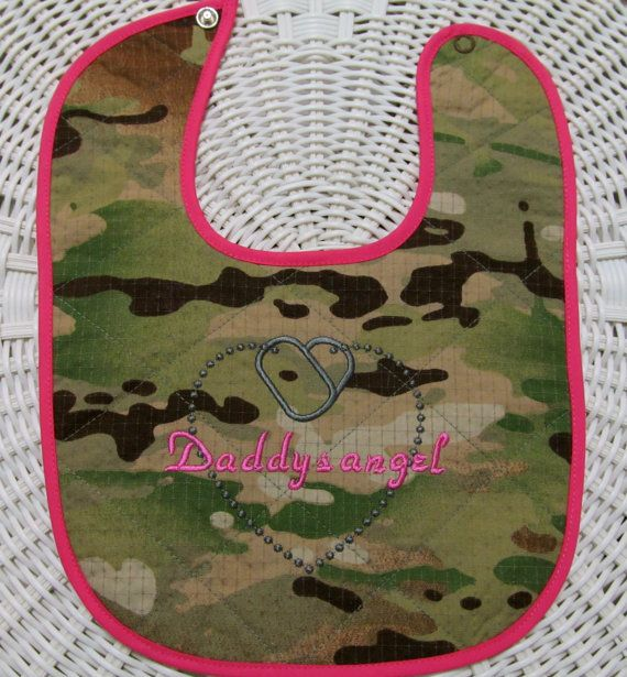 Daddys angel multi cam quilted baby bib ARMY by DarLynDesigns, $10.00