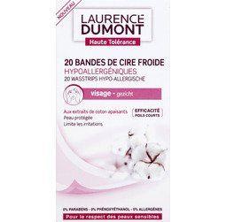 Laurence Dumont - Bandes de cire froide hypoallergéniques visage aux extraits de coton apaisants, peaux sencibles - La boîte de 20 bandes- (pour la quantité plus que 1 nous vous remboursons le port supplémentaire)