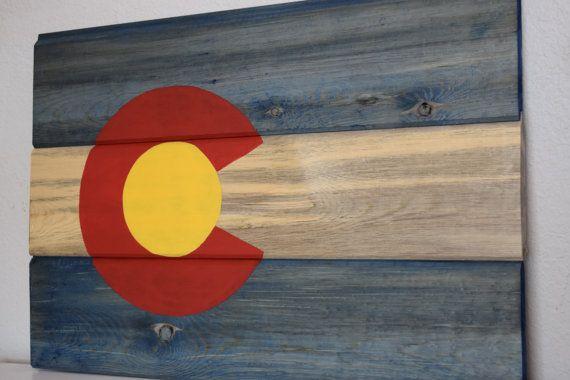 Colorado flag Rustic Colorado State Flag wooden by CambrisCottage