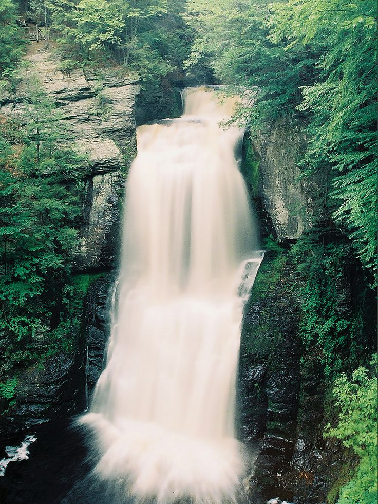 "Bushkill Falls, ""The Niagara of Pennsylvania,"" is located in northeastern PA and is among the Keystone State's most iconic scenic attractions. Nestled deep within the Pocono Mountains, the falls are accessible by an excellent network of hiking trails and bridges which afford fabulous #SpringPA views of the eight waterfalls and the surrounding forest."