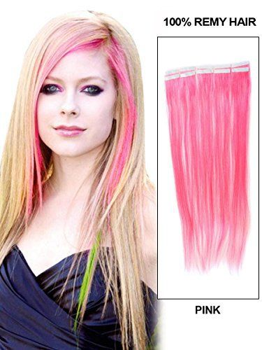 Remy Human Hair #Pink Seamless Tape In #Hair #Extensions  Full review at: http://toptenmusthave.com/best-human-hair-extensions/