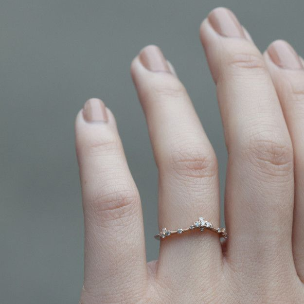 a perfectly curved willow band for the person who embodies a rare and beautiful flower that blooms in adversity delicate engagement ringengagement - Wedding Ring And Engagement Ring