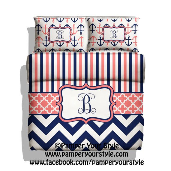 Monogrammed Striped and Chevron Nautical Anchor Bedding - Navy and Coral Duvet Cover - Personalize with Name or Monogram - Create your Bed on Etsy, $139.00