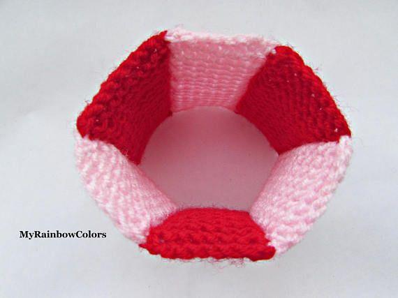 Red Pink Patchwork Bracelet Double Sided Bracelet Knit