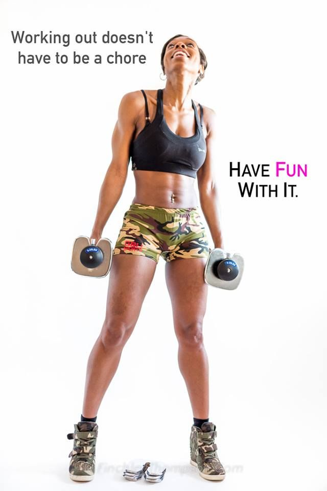 Black Fitness Women Working out isn't a chore, have fun with it, Gemini Lawton, weights, weight lifting, female, Chocolate Fitness, Black Fitness model, Black Thinspiration, Black fitness women inspirational picture