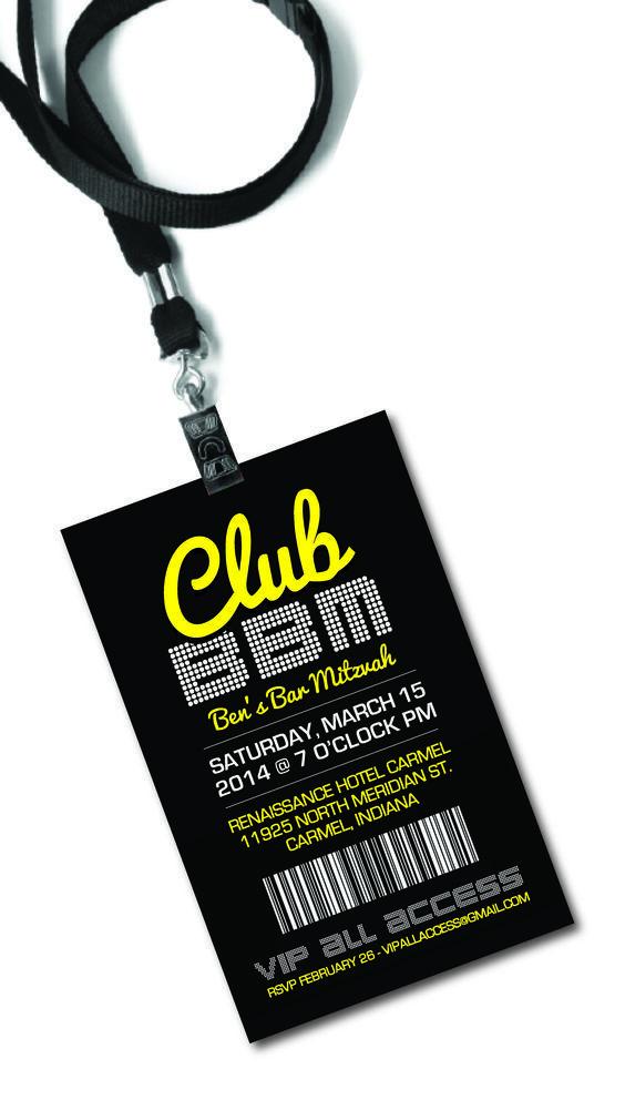 "Bar Mitzvah ""Club VIP Pass"" Invitation Design by Kristen Cambridge"