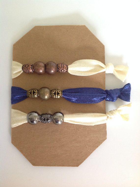 Elastic foldover hair ties 3 beaded elastic by Sistafriends, $12.00