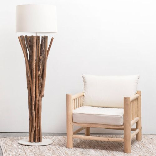 lampadaire en bois flott et tissu h 160 cm toundra. Black Bedroom Furniture Sets. Home Design Ideas