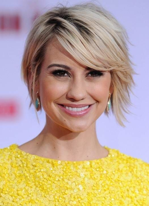 Short Hairstyles 2014 Cute Short Hairstyle with Long Side Swept Bangs