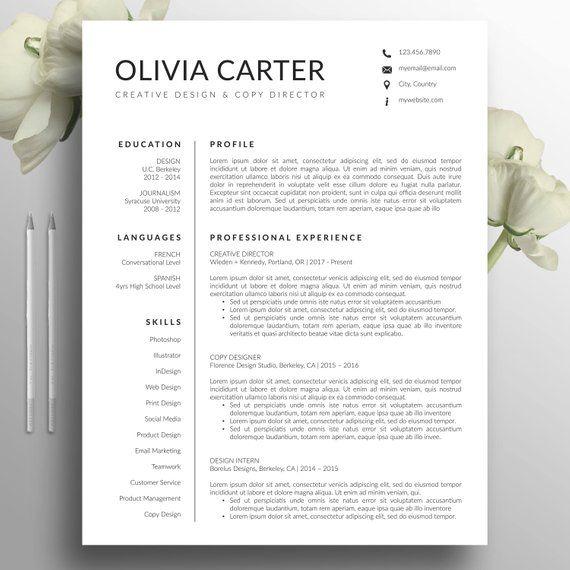 modern resume template  cover letter  word  mac  us letter