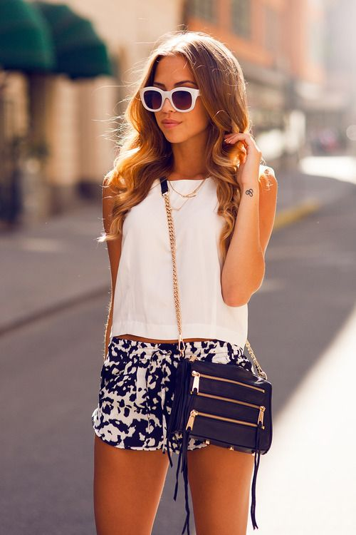 printed shorts // white tank top