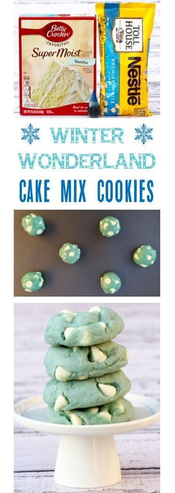 Easy Winter Wonderland Party Cake Mix Cookies Recipe!  Just 5 ingredients and perfect for Baby Showers, Frozen Parties, and Cookie Exchanges! | TheFrugalGirls.com
