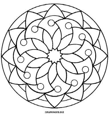 Mandalas (google images) -- great for coloring pages or as templates for DIY pottery painting