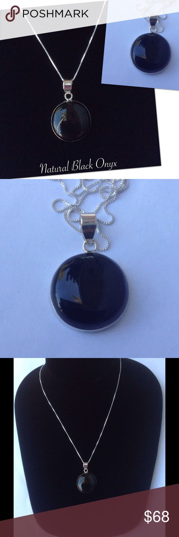 Natural Black Onyx Necklace 100% sterling silver. Natural black onyx with sterling silver going around stone ending with sterling silver bail. All my pendants are bought separate and I add the sterling silver chain. Check out my other items for a bundle discount. PRICE FIRM UNLESS BUNDLED. Jewelry Necklaces