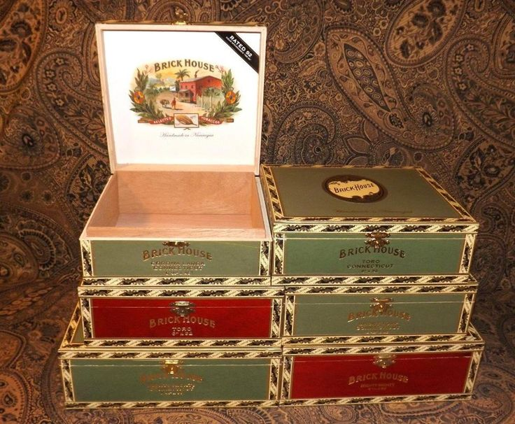 Brick House Green & Red Wooden Cigar Boxes Purses Crafts Jewelry Box Clocks