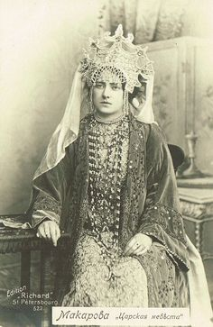 Russian costume, old photograph. Russian opera singer Makarova as the Tsar's Bride in the eponymous opera by Rimsky-Korsakov, 1900s.