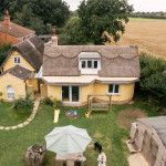 The cob house from the air - built by Kate Edwards and Charlotte Eve