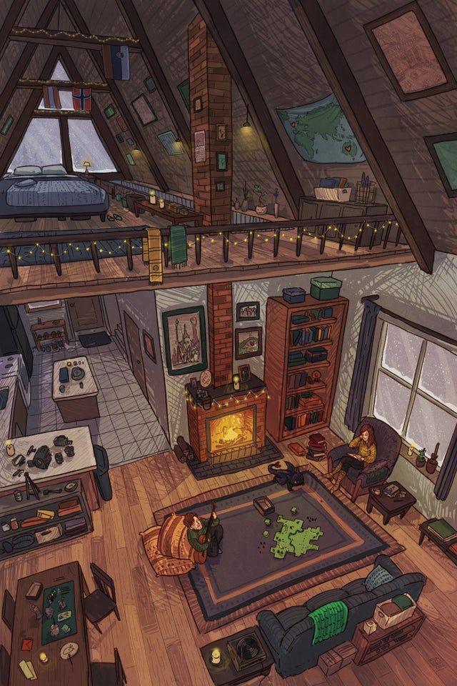 Cozy Cabin By Me Imaginarysliceoflife In 2020 Cabin Art Aesthetic Art Cozy Cabin