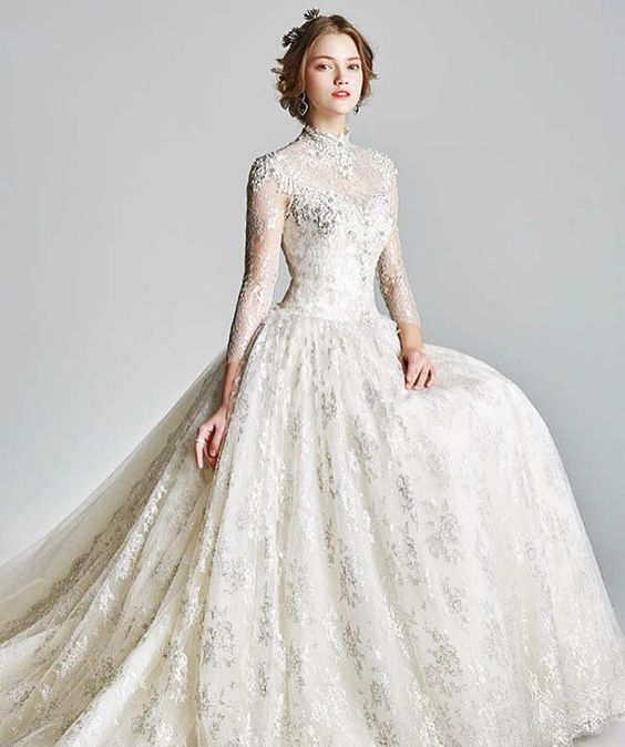 70+ Victorian High Neck Style Wedding Dresses Ideas 14