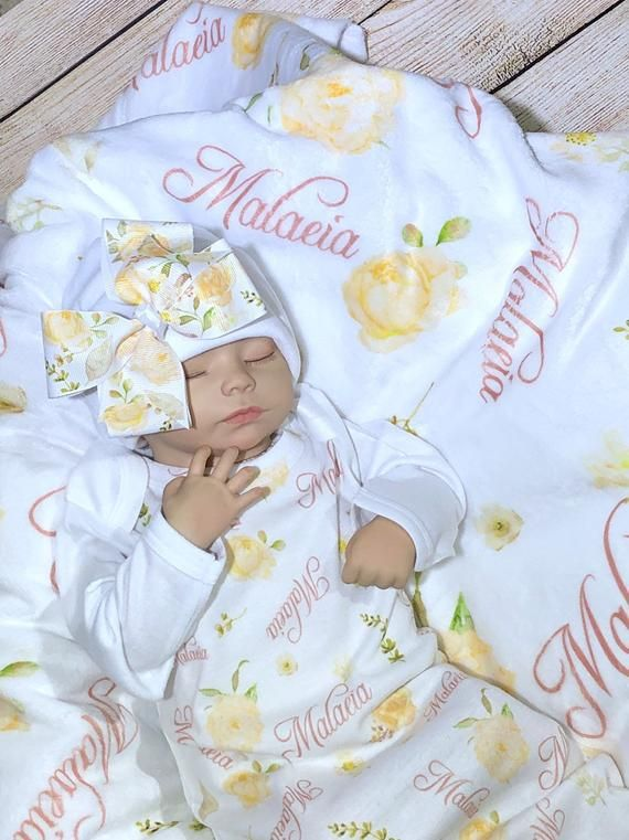Hat and Blanket Great Baby Gift Personalized Infant Gown