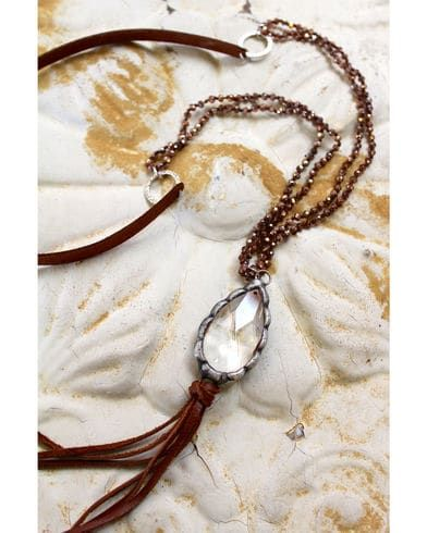 "2 Queen B's Women's Brown 38"" Suede Bronze Beauty Necklace , Brown"