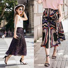 2016 de Verano de Estilo Bohemio Mujeres Imprimir Gasa Faldas Largas de Moda de Punto de Alta Cintura Faldas Plisadas Rayas Holiday Falda Media Pantorrilla(China (Mainland))