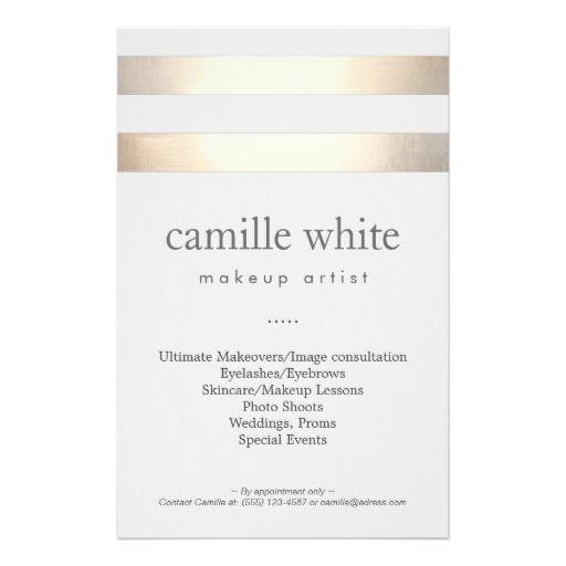 """Makeup Artist Gold Stripes Stylish Beauty Salon 5.5"""" X 8.5"""" Flyer"""