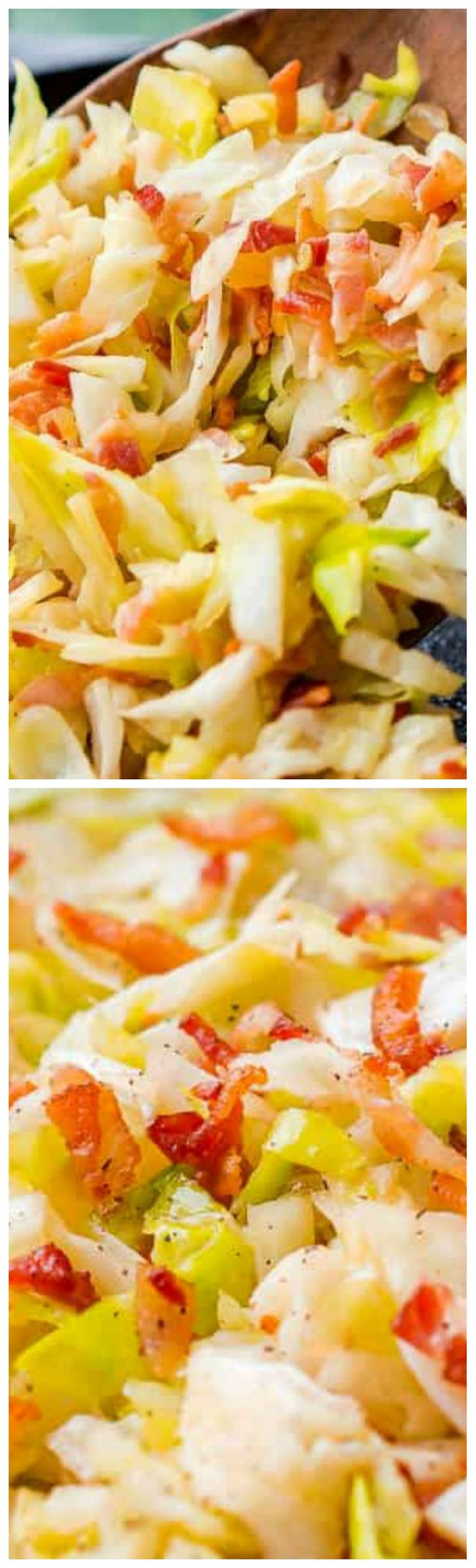 Irish Fried Cabbage and Bacon ~ A simple recipe that's pan fried in bacon grease and loaded up with bacon pieces and onion and seasoned with brown sugar, salt, and pepper.