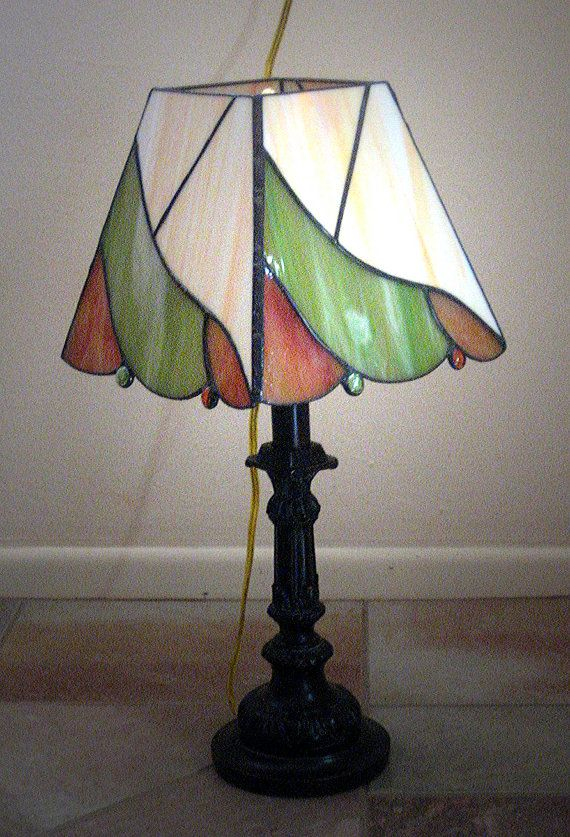 Stained glass boudoir lamp in peach and pale by barbsstainedglass