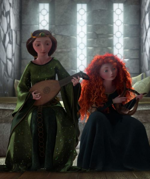 Merida does not have an affinity for music. Thats why theres not singing in her movie