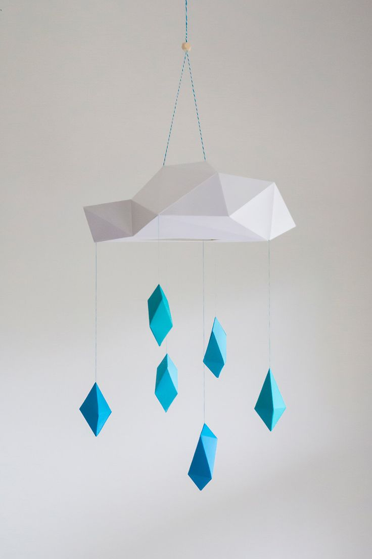 Blue Poly Rain Cloud Mobile - paper art sculpture decoration by mtnvl on Etsy https://www.etsy.com/listing/251861508/blue-poly-rain-cloud-mobile-paper-art