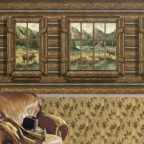 Log cabin windows with moose wallpaper mural for Log cabin window
