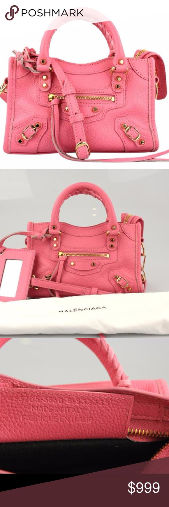 "Balenciaga Nano City Pink Satchel CONDITION Gently Used Very light scuffing and cracking on the bottom corners. Hardware has light scratches throughout.   DESCRIPTION Balenciaga Nano City Satchel Pink leather Gold tone hardware 2"" Handle drop 23"" Strap drop Made in Italy 1 Interior slip pocket 1 Exterior zip pocket Removable leather frame mirror Top zip closure Dust bag is included  Contact Seller  DETAILS Type:Satchels Color:PInk Brand:Balenciaga Fabric:Leather Measurements:7.25""L x 4.5""H x…"