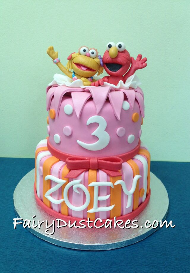 Zoey and Elmo birthday cake by Fairy Dust Cakes