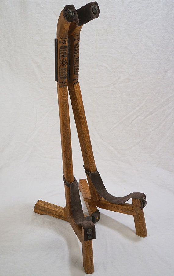 Custom Wood Guitar Stand With Southwest Hand Carved Detail