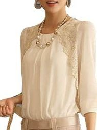 Embroidery Design White Long Sleeve Chiffon Blouse