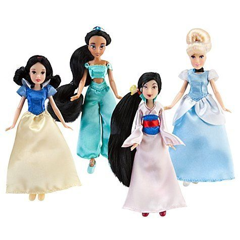Mini Disney Princess Doll Set #2 - 4-Pc. by Disney. $32.05. Once upon time there were four little princesses in one splendid gift box, bringing fairy tale dreams home to you. Our Mini Disney Princess Doll Set includes Mulan, Cinderella, Jasmine and Snow White in a delightful 5 1/2'' scale with delicate detailing.
