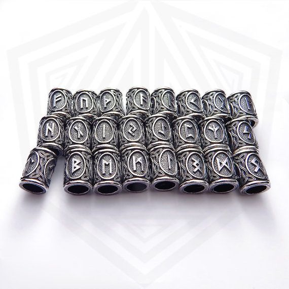 Viking beard Runes beads. Price for 1 piece. Each bean contains three images of the same runes.  Inner diameter - 5.5 mm. Size: 11 х 8 mm Weight: approximately 2 grams Material: sterling silver 925 or bronze Production technology – casting. Hand made.  Elder Futhark Elder Futhark is thought to be the oldest version of the Runic alphabet, and was used in the parts of Europe which were home to Germanic peoples, including Scandinavia. Other versions probably developed from it. The names of the…