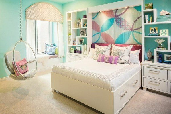 Accent wall ideas colorful floral pattern turquoise white furniture hanging chair