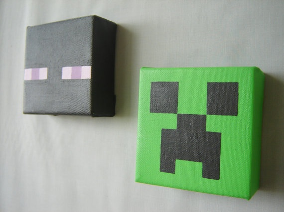 Minecraft Inspired 3D Acrylic Painting Set Of Two By ArtByLinzy,  $30.00....Or Maybe I Could Make These Myself With Plain Canvassesu2026