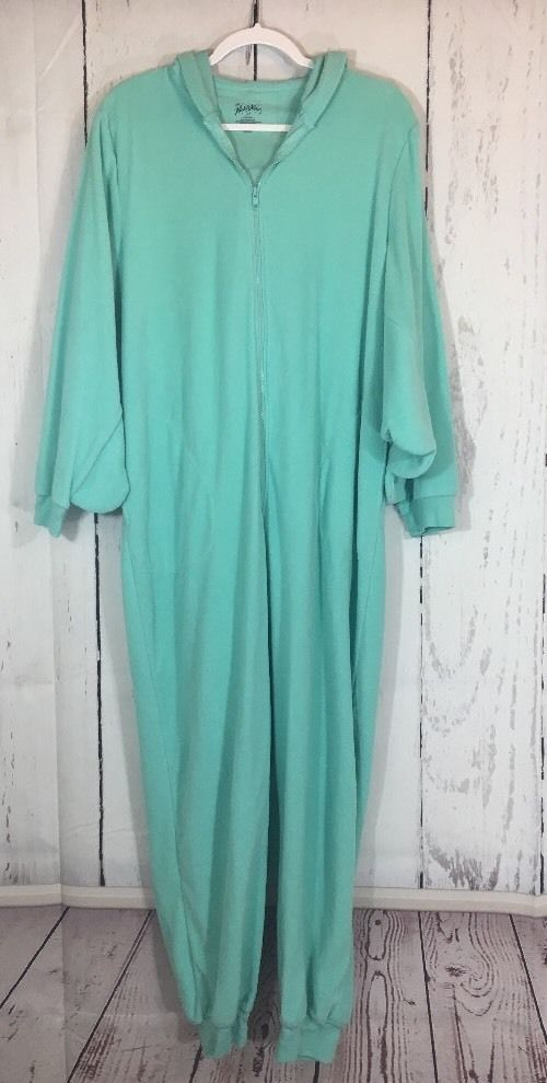 Nick And Nora Aqua Owl One Piece Zip Front Hoodie Pajamas Arm Wings Size XL  | eBay