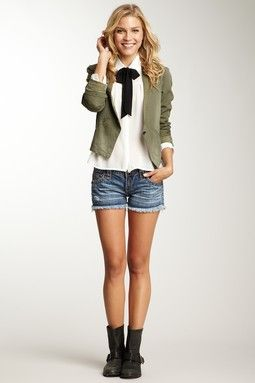 how cute. faded shorts, big boots, bow blouse and little jacket