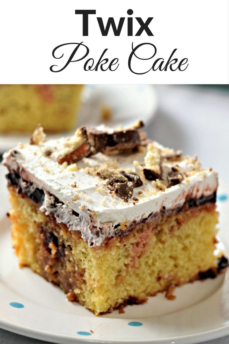 Chocolate Pudding Yellow Poke Cake With Carmel Topping