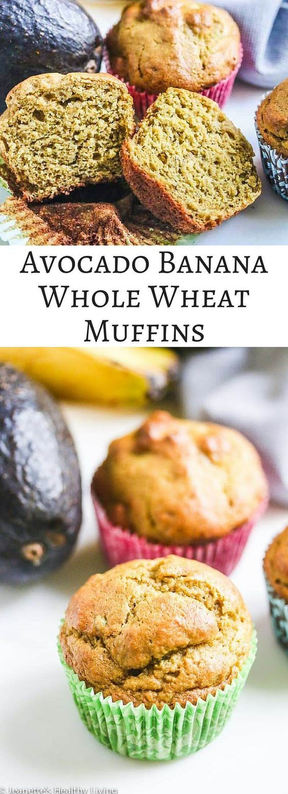 Avocado Banana Whole Wheat Muffins - these healthy muffins use avocado in place of butter and oil ~ http://jeanetteshealthyliving.com