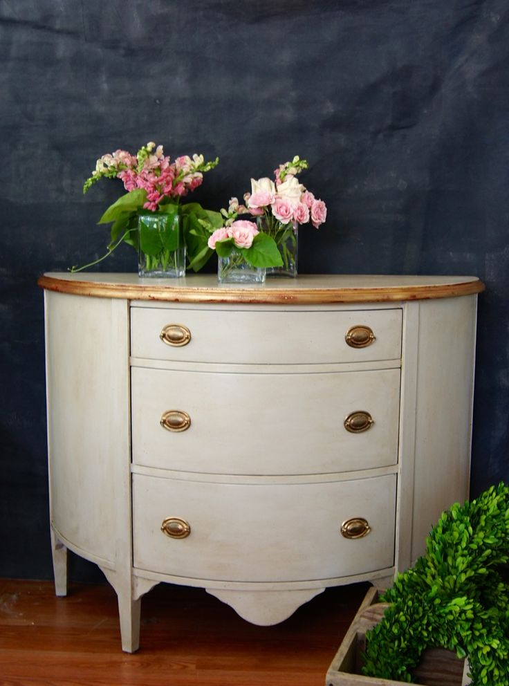custom dresser done in miss mustard seed's milk paint: grain sack plus a tiny bit of trophy for depth. (chalk paint® in primer red is under the gilded edge.) || me & mrs. jones, memphis