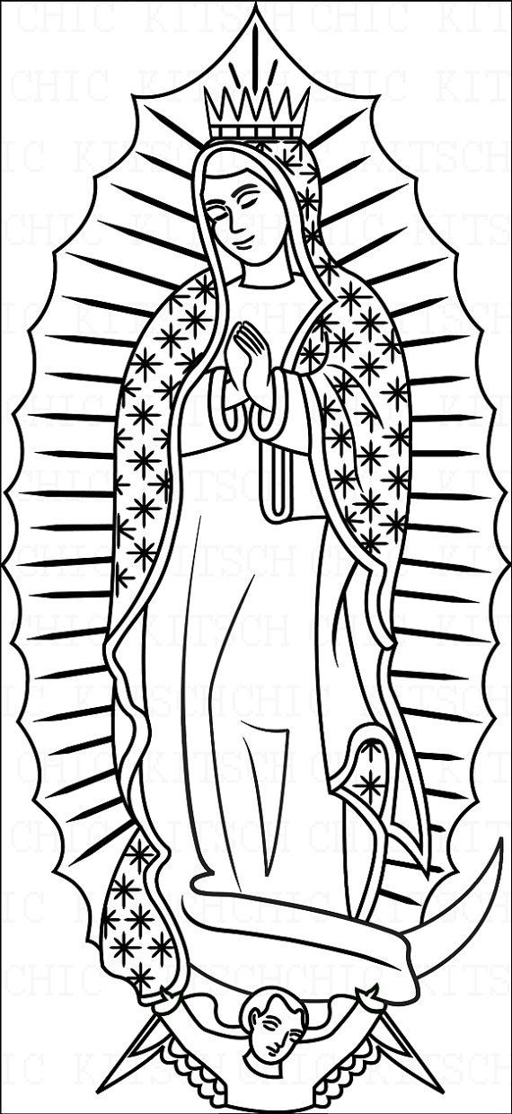 Color Your Own Our Lady Of Guadalupe Digital Picture By Chickitsch 1 75 Catholic Coloring Coloring Pages Virgin Of Guadalupe