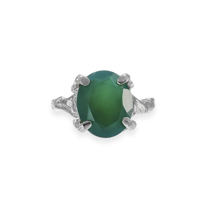 Drop in the Wild Ring Green Onyx in Silver