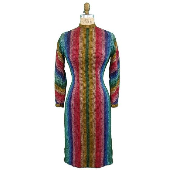 1950s Vintage Anne Fogarty Striped Wool Dress. $115.00, via Etsy.